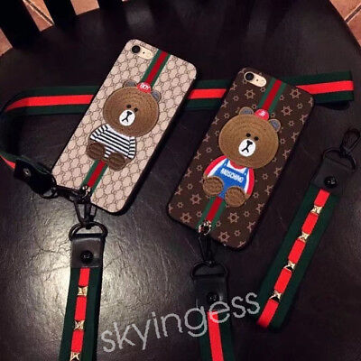 Cute Bear Wristband Lanyard Soft Case Cover For iPhone 6 6Plus 7 7Plus 8 plus