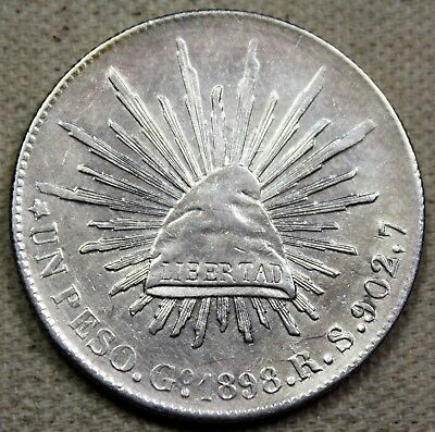 1898 Go RS Mexico 2nd Republic Peso Caps and Rays