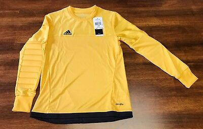 NWT ADIDAS CLIMALITE ENTRY 15 GK L/S PADDED GOLD JERSEY SIZE~Youth Medium
