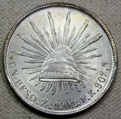 1902 ZS FZ Mexico 2nd Republic Peso Caps and Rays