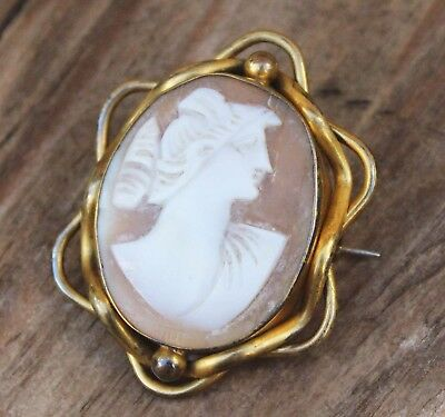 Antique Victorian Cameo Brooch Shell Original Roman Soldier? Jewellery Jewelry