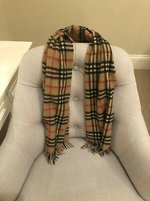 AUTHENTIC Burberry Classic Camel Check Scarf 100% Cashmere