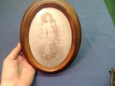 Vintage Antique Framed Photo Picture Woman Flowers Wooden Frame