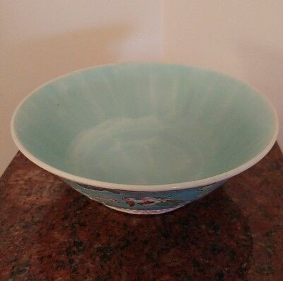 "Vintage/ Antique Turquoise  Chinese Pottery Bowl With Dragon Diameter 7 1/3""."