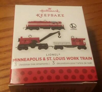 Hallmark 2013 miniature Lionel 3 pc. set Minneapolis & St. Louis Work Train NEW