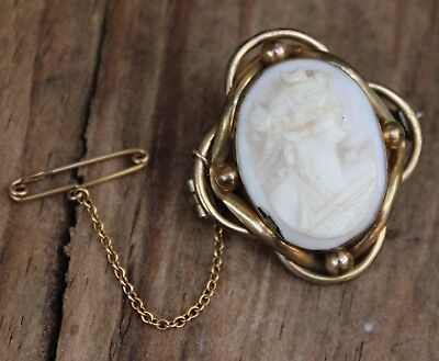 Antique Victorian Cameo Brooch Shell Original Roman Lady Jewellery Jewelry