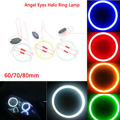 2x 60/70/80mm Angel Eyes Halo Ring Lamp LED Car Head Light 64/81/93 LED CCFL COB