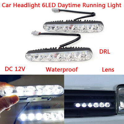 Car Headlight 6 LED DRL daytime running Fog light LENS Waterproof High Power 12V