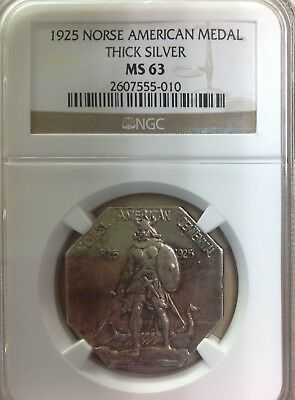 1925 Norse American Thick Silver Commemorative Medal - NGC MS63
