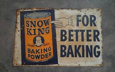ANTIQUE  SNOW KING BAKING POWDER PAINTED TIN country store SIGN