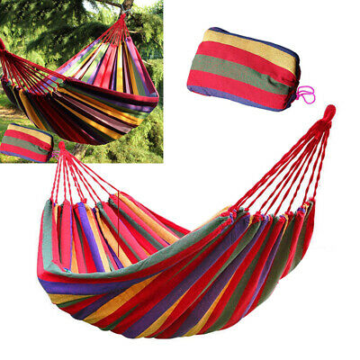 Two Person Hammock Cotton Rope Swing Fabric Camping Travel Hanging Canvas Bed