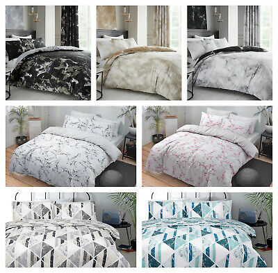 Marble/Diamond Print Reversible Duvet Quilt Cover Bedding Set with Pillowcase(s)