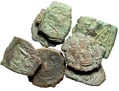 GROUP LOT of 7 Ancient Byzantine Bronze Coins 20-22mm Circa 6th-7th Century AD
