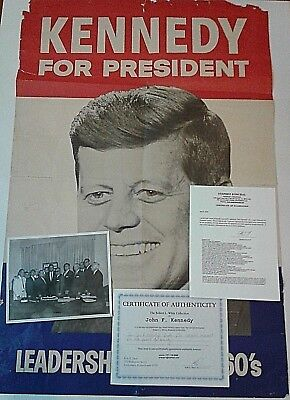 John F Kennedy Signed Large Campaign Poster With Photo Owned By Jfk  With Coa
