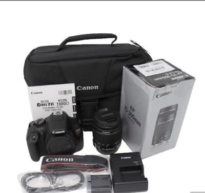 Canon EOS Rebel T6 Digital SLR Camera Kit with EF-S 18-55mm and EF 75-300mm NEW