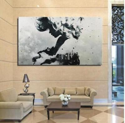 Modern Hand-painted Abstract Canvas Oil Painting Wall Decor Art Black White 054
