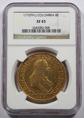 Colombia 1770 PN J 8 Escudo Gold Coin NGC XF45 KM38.2 Charles III Choice XF Fr24