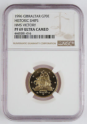 Gibraltar 1996 1/5 Oz Gold 70 Ecu Proof Coin NGC PF69 Ultra Cameo HMS Victory