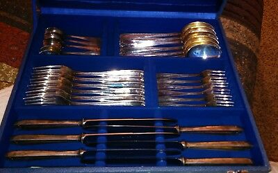 ANTIQUE ITALY 800 SOLID SILVER FLATWARE THREAD & SHELL Italian Sterling 29pc