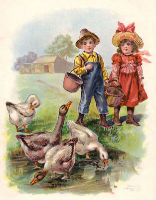 Sister & Brother with Geese, Antique Chromolith Print