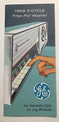 1959 General Electric 5 Cycle Filter-Flo Washer Brochure Mint Detroit Michigan
