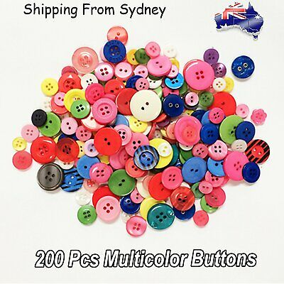 200Pcs Mix Multi Single Colour Bulk Buttons Sewing Plastic Shapes Crafts 9-20 mm