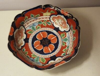 Asian Antique Late 19th Early 20th Century Imari Porcelain Polychrome Bowl Japan