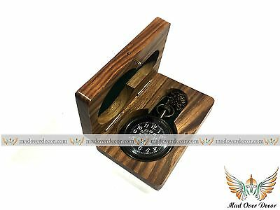 Nautical Brass Antique Finish Pocket Watch With Wooden Box Marine Pocket Watch