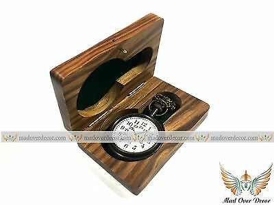 Vintage Nautical Solid Antique Brass  Pocket Watch With Wooden Box Unique Gift