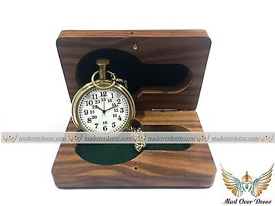 Vintage Style Grandfather Pocket Watch Antique Brass Chain With Solid Wooden Box
