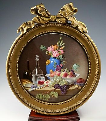 Large Antique French Enamel On Copper Signed Still Life Heavy Bronze Frame -Rare