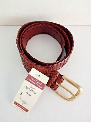 """Badgery Kangaroo Leather Plait Belt  """"Drover"""" Tan Size 32""""/81cms New with Tags"""
