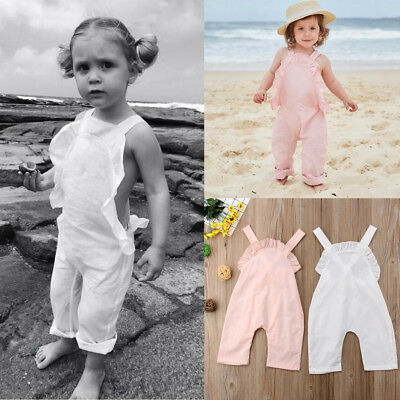 AU Casual Summer Toddler Baby Kids Girl Ruffle Romper Jumpsuit Outfit Clothes