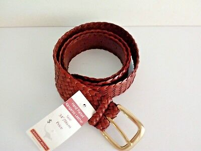 """Badgery Kangaroo Leather Plait Belt  """"Drover"""" Tan Size 34""""/86cms New with Tags"""