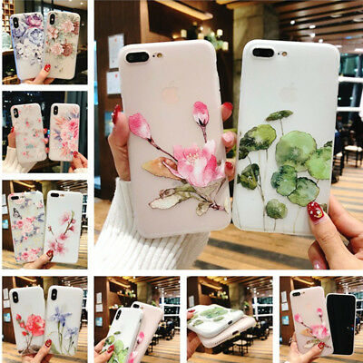 Matte Relief Floral Pattern Slim Soft Silicone Cover Case For iPhone X 8 7 Plus