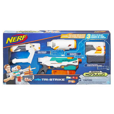 Nerf Modulus Tri-Strike Blaster Kids Toy Soft Foam Dart Gun Set NEW!