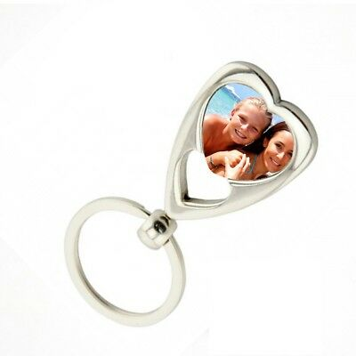 Personalised Photo Metal Heart Keyring With Gift Box
