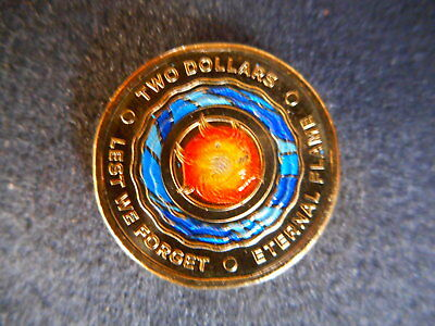 anzac 2018 Australia Lest We Forget - Eternal Flame $2 Coloured Coin unc