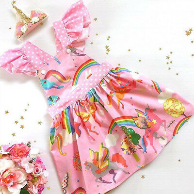 AU Toddler Kids Baby Girls Cartoons Unicorn Backless Party Pageant Dress Clothes