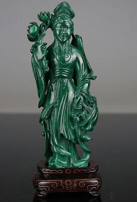 Antique Chinese Malachite Figure Statue Carved Kwanyin With Stand - 19Th Qing