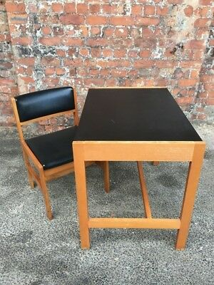 Retro Vintage Small Writing Desk Together With Chair Black Vinyl And Beech Wood