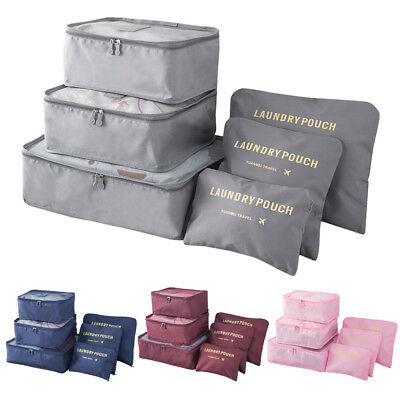 6 set Packing Cubes Large Travel Luggage Organizer Waterproof Compression Top