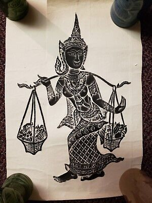 "Thai Authentic Temple Wat Buddhist Hindu Rice Paper Relief Rubbing 20"" x 13"""