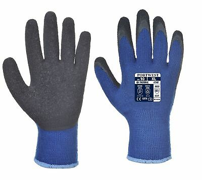 Portwest A140 Thermal Grip Gloves Latex Palm BLACK - 9 / Large***