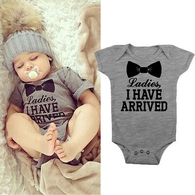 AU Newborn Toddler Baby Boy Ladies I Have Arrived Romper Jumpsuit Outfit Clothes