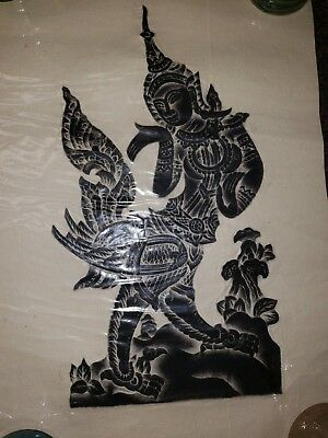 "Rice Paper Thai Buddhist Hindu Temple Wat  Authentic 3D Relief Rubbing 20"" x 13"""