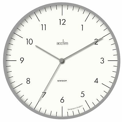 'Stafford' Sweep Wall Clock Chrome Effect Case & White Dial 30cm by Acctim