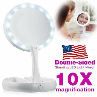 My Fold Away Mirror LED-illuminated Double Sided 10x magnification Makeup Mirr#S