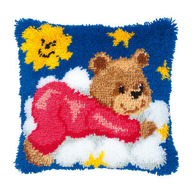 Latch Hook Cushion, Teddy Design Large Hole Canvas 52% Cotton | Size 40 x 40cm
