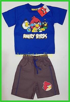 New Angry Birds cartoon t-shirt top Tshirt shorts summer boys kids outfit set